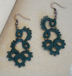 Tatted lace earrings in dark green with bronze , glass seed beads. They are perfect for every occasion and outfit , light and easy to wear.  Tatting