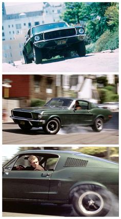 Actor Steve McQueen with the famed 1968 Ford Mustang 390 Fastback in the cult film Bullitt. Mustang Bullitt, Ford Mustang Gt, Mustang Fastback, Mustang Cars, 1968 Mustang, Shelby Gt500, Bicicletas Raleigh, Steeve Mcqueen, Automobile