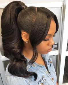 weave ponytail hairstyles Thriving Hair Virgin Human Hair Loose Body Wave Front Lace Wigs With Natural Hairline Black Ponytail Hairstyles, Hair Ponytail Styles, Sleek Ponytail, Loose Hairstyles, Braided Hairstyles, Curly Hair Styles, Natural Hair Ponytail, Ponytail Updo, Ponytails For Black Hair