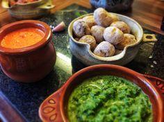 Papas Arrugadas ~ Canarian Wrinkled Potatoes with Mojo Sauces.  http://www.theveganhousehold.com/side-dishes/papas-arrugadas-canarian-wrinkled-potatoes-with-mojo-sauces/