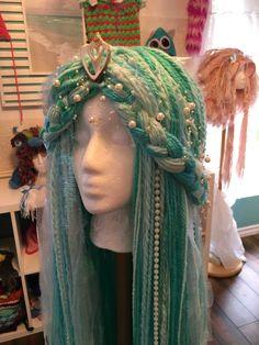 Mermaid Wig, Crochet Mermaid, Crochet Lion, Ropa Burning Man, Drag Wigs, Yarn Wig, Iridescent Fabric, Crochet Princess, Crochet Disney