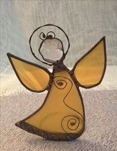 Stsined glass angel tiffany žlutý anděl s křišťálem na svíčku