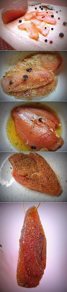 Лучший рецепт сыровяленой куриной грудки
