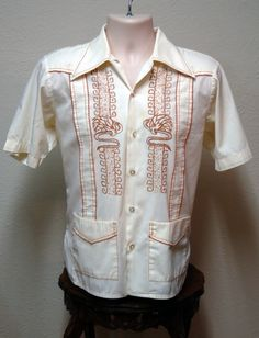 46f2ac1d Large - Off-White and Orange 1970s Vintage Cuban Guayabera - Men's Short  Sleeve Size 42 - Mexican Wedding Shirt