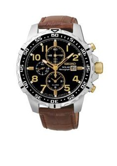 Seiko  Mens Leather Band Solar Alarm Chronograph