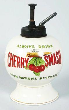 1920s Cherry Smash 5-Cent Ceramic Syrup Dispenser.