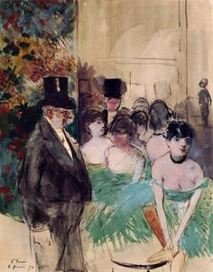 "amare-habeo: ""Jean-Louis Forain (French, Intermission on stage, 1879 Watercolor gouache, pencil, India ink on paper "" Art is sexy France Art, Old Paris, Post Impressionism, India Ink, Great Paintings, French Artists, Art Reproductions, Art Google, Traditional Art"