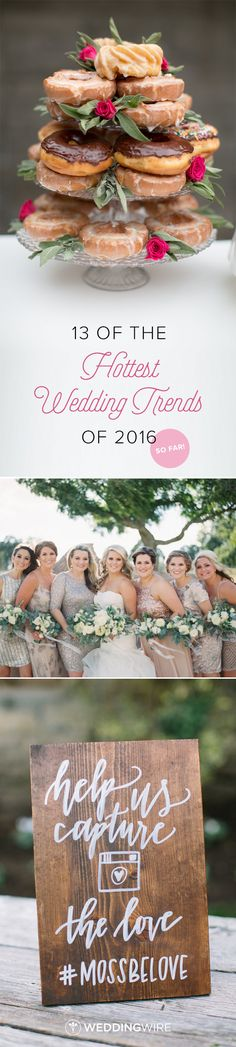 13 Of the Most Popular Wedding Trends in 2016 - Find out what the trendiest decor, dress styles, and food choices are so far in 2016 on @weddingwire! {Stepahnie Fay Photography, Charla Storey Photography, Lovers of Love Photography}