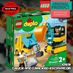 LEGO 10931 Truck And Tracked Excavator DUPLO Mainan Anak Original #thekingbricks #theking #thekingid #kingbricks #gvonline #uhappyihappy #tokolegoterpercaya #tokomainanoriginal #lego10931 Lego Duplo Sets, Lego Duplo Town, Lego City, Building For Kids, Building Toys, Legos, Lego Toys, Construction Worker, Learning Through Play