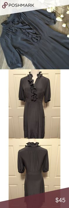 "BANANA REPUBLIC GREY SILK DRESS Beautiful Banana Republic grey 100% silk dress, in excellent condition. Pockets, side concealed zipper. Size 4: 36"" bust, 38"" length, 13"" sleeve, 29"" waist. No trades, smoke free home. Thank you for stopping by!💕🌻💕 Banana Republic Dresses"