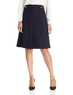 Ellen Tracy Womens Core ALine Skirt with Hardware Trim Navy 14 -- For more information, visit image link.