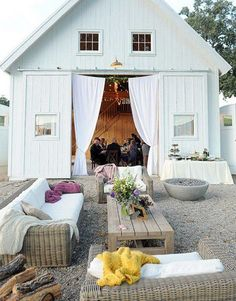Barn party/wedding.  Like the couches outside.  Need to do this with pallet coffee table.