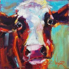 in September - Painting No. - Original Fine Art for Sale - © Olga Wagner Cow Painting, Painting & Drawing, Contemporary Abstract Art, Modern Art, Abstract Landscape, Cow Pictures, Farm Art, Cow Art, Animal Paintings