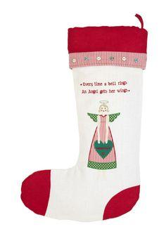CHRISTMAS -- Angel Christmas Stocking Christmas Angels, Christmas Stockings, Stocking Ideas, Angel Wings, Holiday Decor, Needlepoint Christmas Stockings, Christmas Leggings, Stockings