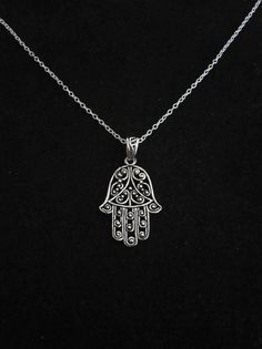 Oxidized 925 Sterling silver filigree FATIMA/HAMSA HAND pendant and 925 Sterling silver necklace chain, Protection and luck symbol