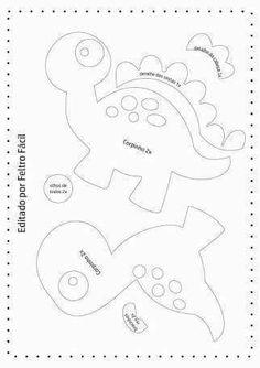 Disclosure of felt templates, tutorials, ideas and inspirations! Felt Animal Patterns, Stuffed Animal Patterns, Applique Patterns, Sewing Patterns, Sewing Crafts, Sewing Projects, Felt Templates, Dinosaur Pattern, Dinosaur Birthday