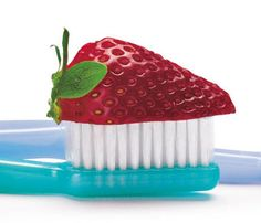 D.i.Y. Beauty Finds at the Farmers Market: Crush up one strawberry, spoon the pulp onto your toothbrush and brush your teeth for a natural (and sweet) way to help whiten teeth. #SelfMagazine