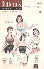 Womens Size 16 Pin-Up Rockabilly Blouses: Halter, Camisole, Strapless Vintage Butterick Pattern 6956 / bust 34 waist 28 / Factory Folds by AttysVintage on Etsy Vintage Dress Patterns, Blouse Vintage, Vintage Tops, Clothing Patterns, Skirt Patterns, 50s Vintage, Coat Patterns, Blouse Patterns, 1950 Pinup