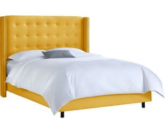 Nail Button Tufted Wingback Bed in Linen French Yellow-Available in Four Different Sizes. Product in photo is from www.wellappointedhouse.com