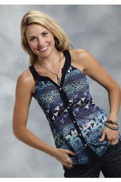 98f6159a5a0 Roper Leopard Floral Print Mesh Sleeveless Top Studio West- Forever Blue - Urban  Western Wear