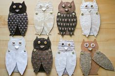 fabric and cardboard owls by Anne Weil of flaxandtwine via DesignSponge