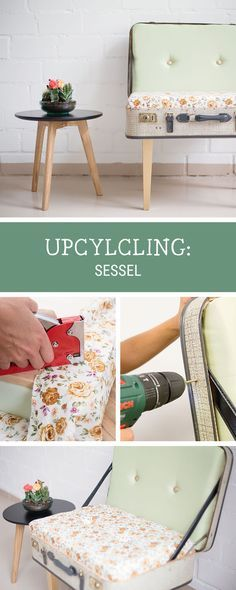 Sessel aus altem Koffer bauen, Upcycling-Idee / upcycling inspiration: transform an old suitcase into an armchair via DaWanda.com