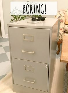 Oct 2019 - Do you have a boring metal file cabinet you want to makeover? Do you want some organization tips? Then please join me for this quick and easy project. Painting Metal Cabinets, Painted File Cabinets, Diy Cabinets, Decorating File Cabinets, Painting Laminate Furniture, File Cabinet Desk, Drawer Filing Cabinet, Filing Cabinets, Filing Cabinet Makeovers