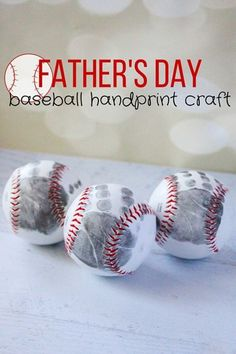 Baseball Handprint Craft: Knock Father's day out of the park this year with this sentimental gift idea. Click through to find more Father's Day DIY craft ideas that Dad will love to get from kids and adults.