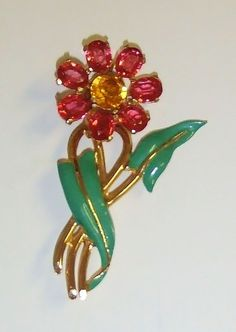 1434~Vintage Gold Tone Enamel Rhinestone Figural Flower Brooch Pin**