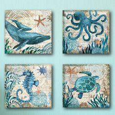 Portfolio Canvas Decor Monterey Bay Octopus by Geoff Allen 4 Piece Graphic Art on Wrapped Canvas Set Canvas Art, Canvas Prints, Turtle Painting, Beach Crafts, Beach House Decor, Beach Art, Beach Themes, Coastal Decor, Metal Wall Art