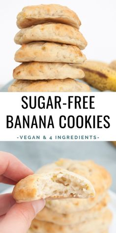 You ll only need 4 ingredients for these banana cookies they are sugar free oil free and vegan! elephantasticvegan com vegan sugarfree cookies banana oilfree yum yum sauce Sugar Free Cookies, Sugar Free Desserts, Vegan Dessert Recipes, Sugar Free Recipes, Vegan Sweets, Healthy Sweets, Healthy Baking, Baby Food Recipes, Cooking Recipes