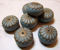 Polymer Clay Beads with Brass Caps by Fanceethat