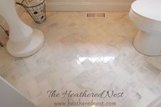 And We'll Never Be Royals Inexpensive marble subway tiles from Home Depot