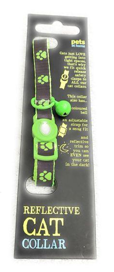 Cat Reflective Breakaway Collar Pet Clothes Brown Green Paw Prints #PetsAtHome