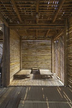 Bamboo rooms. Light and with air. monolithos: dezeen: Blooming Bamboo Home by H&P Architects
