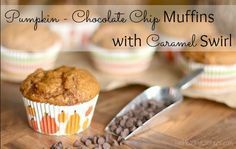 Pumpkin-Chocolate Chip Muffins with Caramel Swirl (With Make-Ahead and Mini Options!) from Two Healthy Kitchens - Decadent pumpkin muffins, with bursts of creamy chocolate and swirls of date-infused caramely filling. Make-ahead and mini options, too! Perfect for fall!
