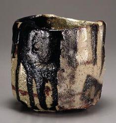 "Yakunuki-type black Raku tea bowl named ""Gekka Senpo"" Raku Kichizaemon 15, 1990, The National Museum of Modern Art, Tokyo #tea #bowl #ceremony #chawan #yunomi #raku #wabi sabi #sadou #ceramic #pottery"