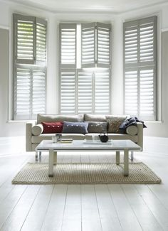 I would love plantation shutters for my living room window.whether it's a bay window or not. Wooden Window Shutters, White Shutters, Interior Window Shutters, Wooden Windows, Interior Windows, Indoor Shutters For Windows, Modern Shutters, Bedroom Shutters, Vinyl Shutters