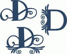 Silhouette Design Store - View Design #78907: flourish monogram set - d