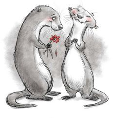 Significant otter (I see only Sherlolly) Cute Drawings, Animal Drawings, Significant Otter, Funny Animals, Cute Animals, Otter Love, Arte Disney, Otters, Spirit Animal