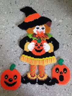 Handmade Plastic Canvas Halloween Witch and by Pennyslittlestore