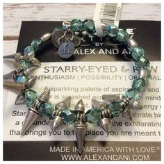 Alex & Ani Rock and Raw bracelet NWT, silver toned expandable bracelet wrapped with assorted silver and teal beads and spike studs. Excellent condition, comes with dust bag Alex & Ani Jewelry Bracelets
