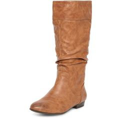 Dorothy Perkins Tan flat rouched knee boots