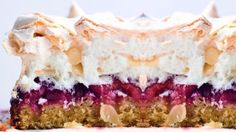 This treat has a thin cakey bottom that's covered in fruit, then topped with meringue