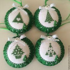 Купить Новогодние игрушки из фетра Елочки - синий, елочные игрушки, елочные шары