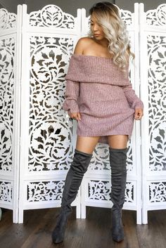 Ombro a ombro vestido suéter