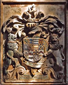 Armorial detail from the tomb of Ambrose Dudley, Earl of Warwick, in the Beauchamp Chapel at St Mary's Collegiate Church, Warwick
