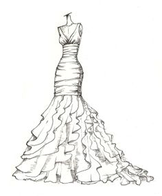 weddinng dress illustration. $89.00, via Etsy.