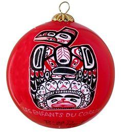 Bill Reid Children of the Raven Glass Ornament - Red