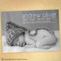 baby boy birth announcement-- modern